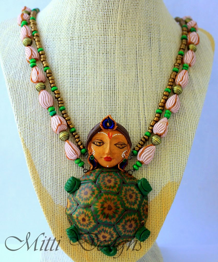 kurma, turtle, vishnu, krishna, polymer clay, handmade, necklace, green turtle, mitti, rachana saurabh