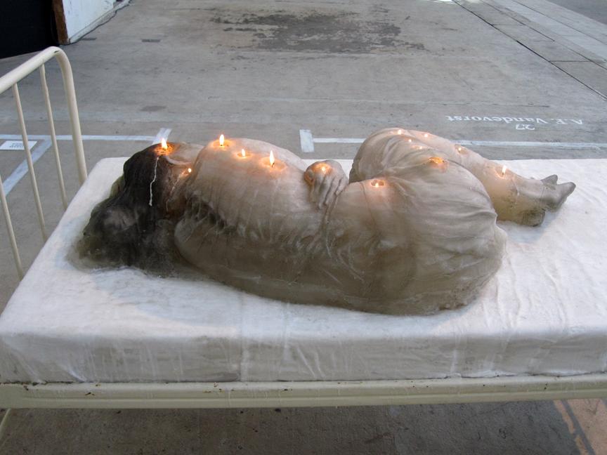 Fetal Position Bed lenn cox's wax woman installation | eclectix