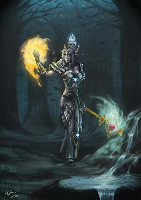 Commission: Night Elf Priest por pinali