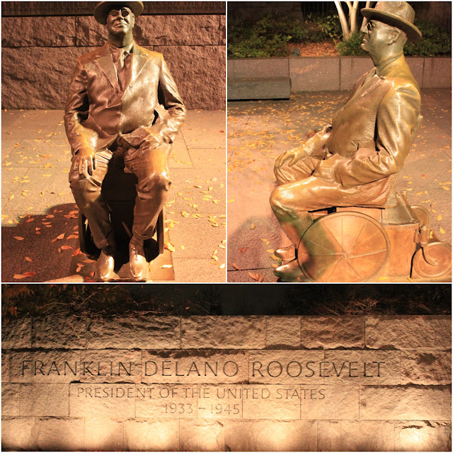 President Roosevelt was the only US President elected for more than two terms at FDR Memorial in Washington DC, USA