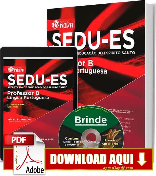 Apostila SEDU ES 2015 PDF Download Grátis Professor de Língua Portuguesa