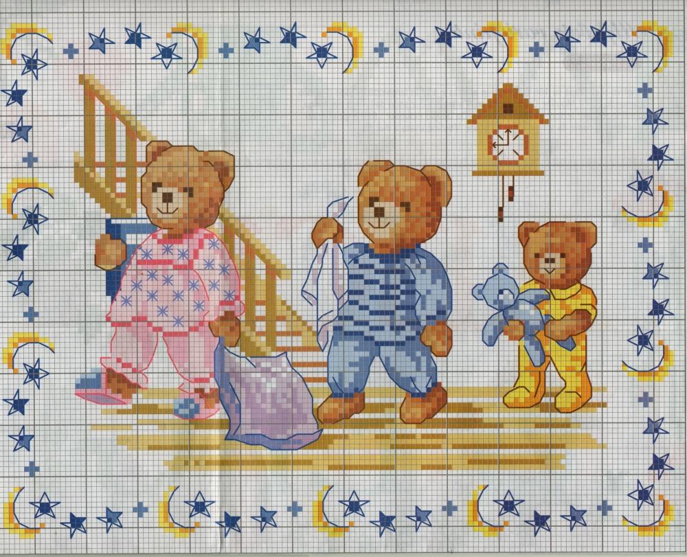 Nonsolodolciricette orsetti da ricamare a punto croce for Immagini di punto croce
