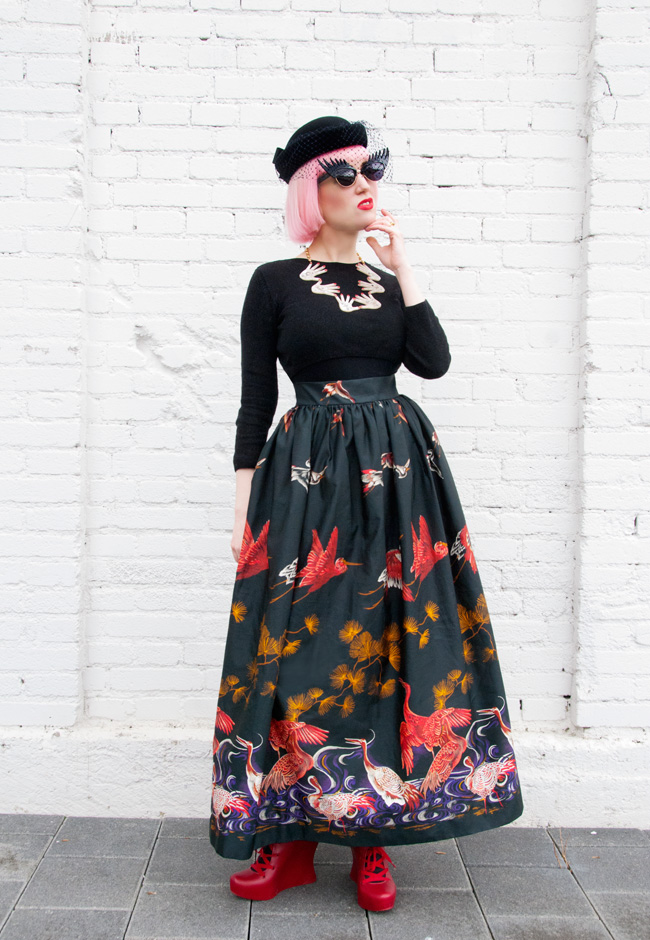 vintage look, maxi skirt outfit, tatty devine