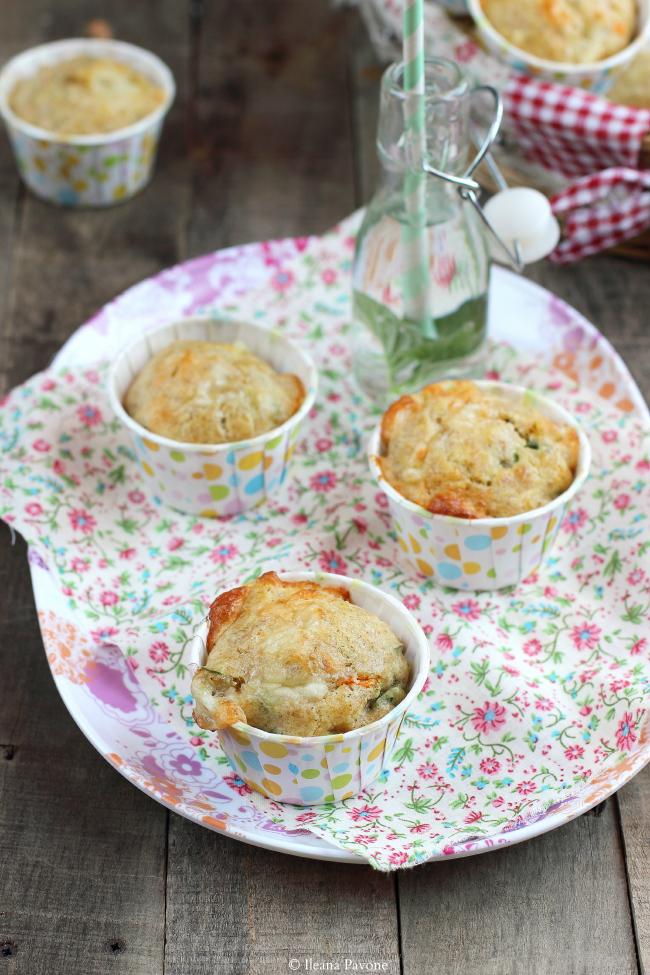 muffins con zucchine grigliate, scamorza e maggiorana