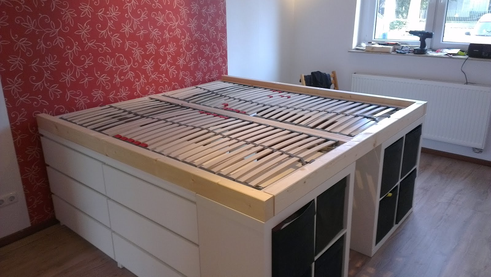 Half a loft bed get home decorating for Platform bed with drawers ikea