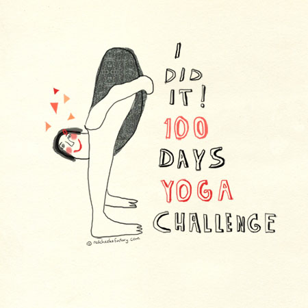 100 days bikram yoga challenge illustration