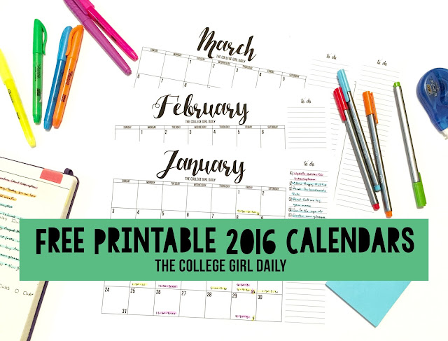 free printable calendars, calendars, organization, school, college, printable, free printable,