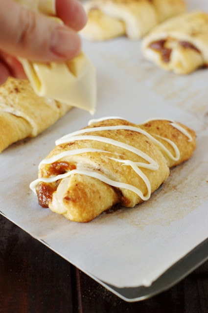 Pumpkin Cheesecake Crescents ~ a perfect quick-and-delicious fall, Halloween, or Thanksgiving pumpkin treat. #warmtraditions AD   www.thekitchenismyplayground.com