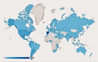Mapa de las visitas de El rincón de Carlos del Río