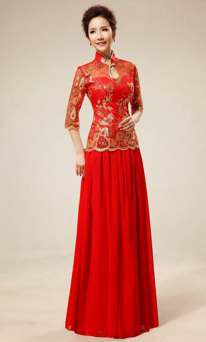 Red and gold wedding dresses with half sleeves ideas for Red and gold wedding dress