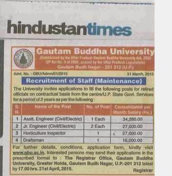 New Job Gautam Buddha University Gbu Recruitment 2015