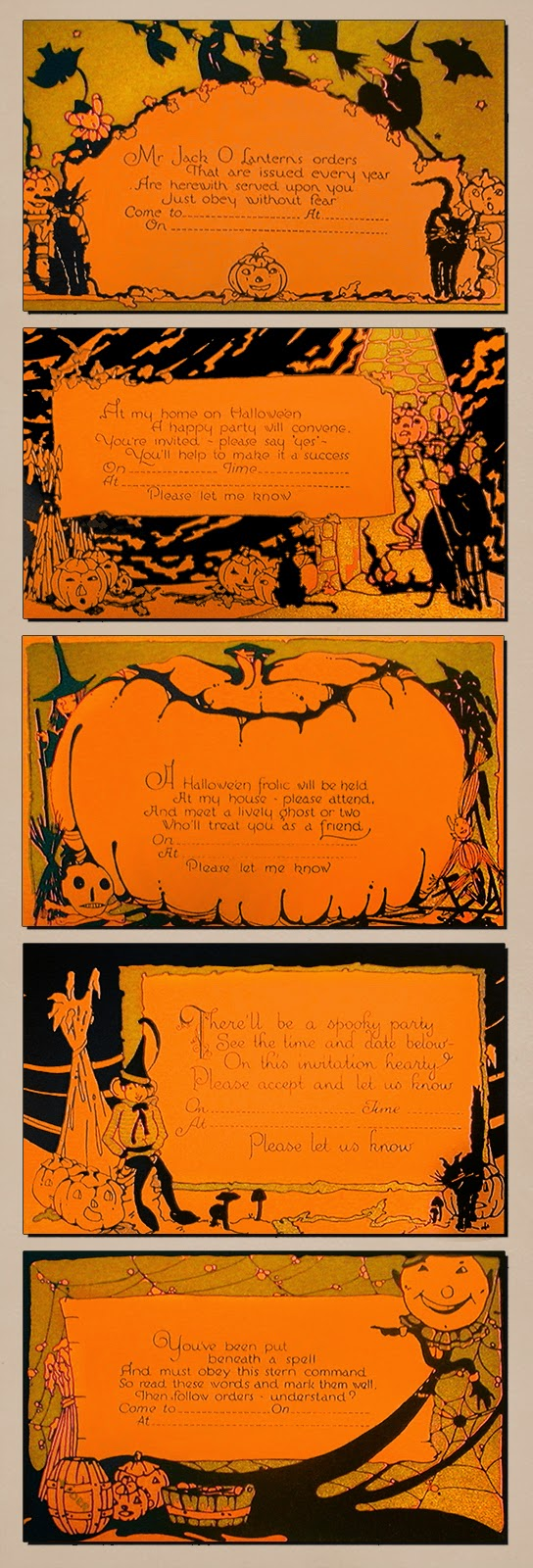 Witches, cats, skull, elf, and moon on illustrated Halloween poem cards likely by Whitney