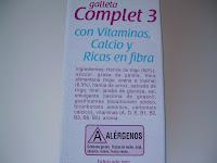 Ingredientes de las galletas Complet 3 con vitaminas y calcio Linnea V - Hacendado de Mercadona.