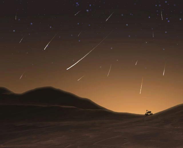 chuva de meteoros em Marte