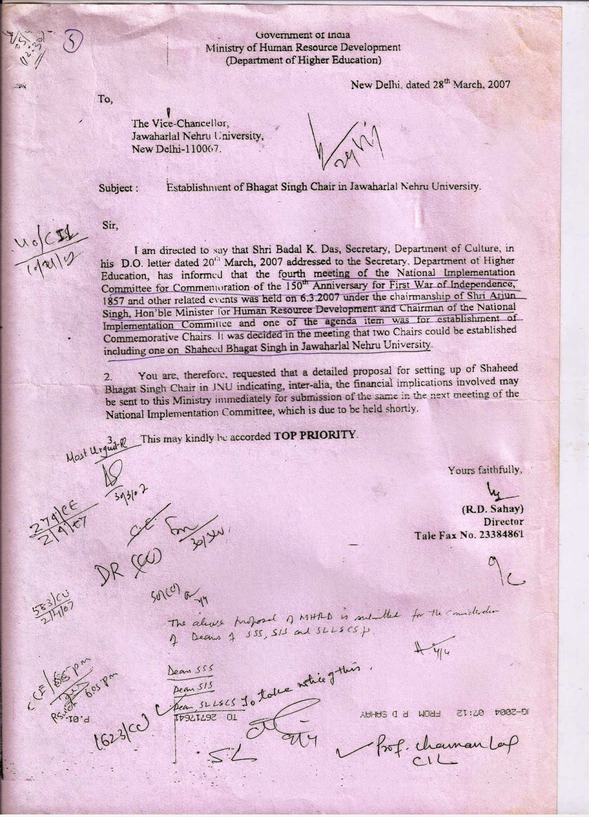 bhagat singh study chaman lal sad story of bhagat singh chair in govt sent the letter in this regard to jnu on 28th 2007 asking for proposal to set up bhagat singh chair