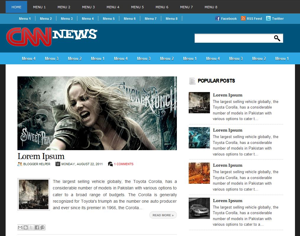 Cnn News Blogger Template Free Blogger Themes