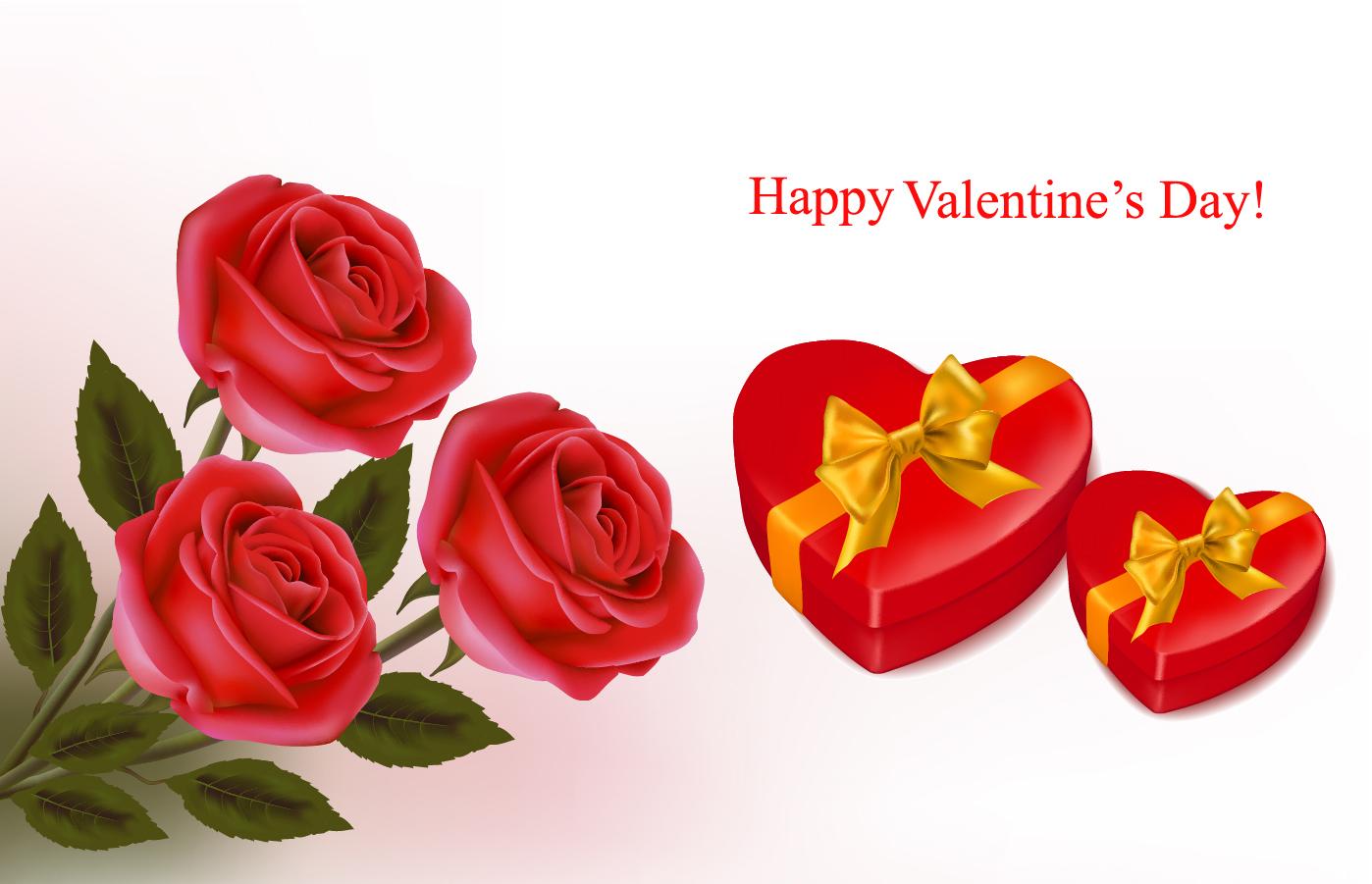 赤い薔薇とハートのバレンタインデー背景 Valentine's Day background roses, hearts イラスト素材