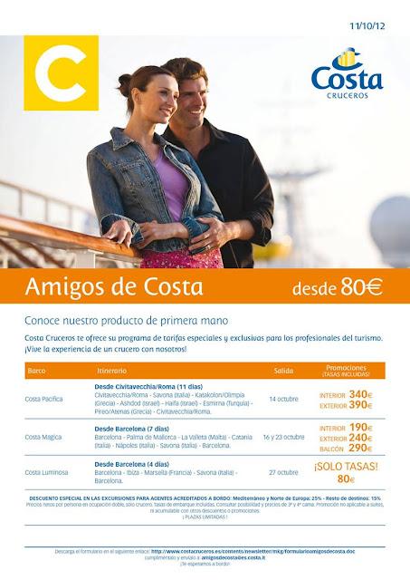 mejor oferta de crucero 2x1 con Costa Cruceros