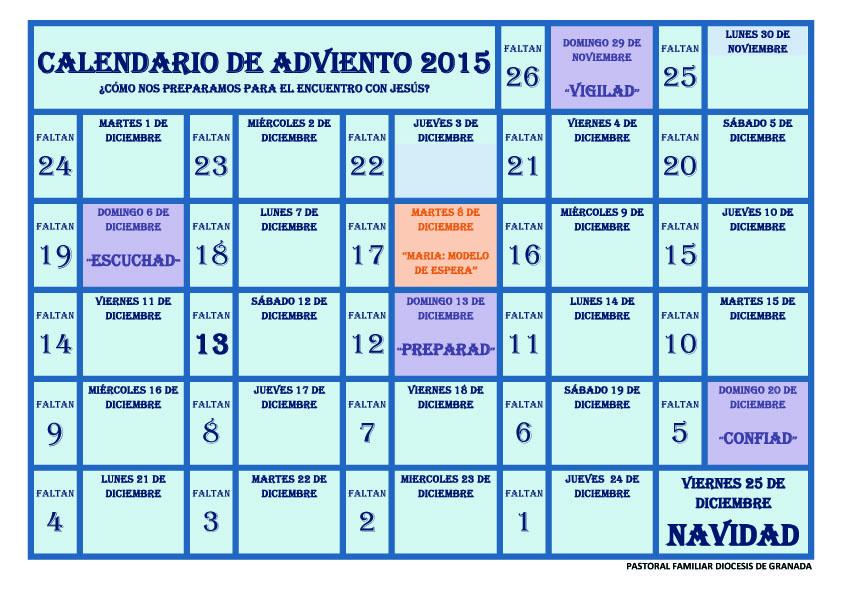 Pastoral familiar archidiocesis de granada calendario de for Calendario adviento ninos