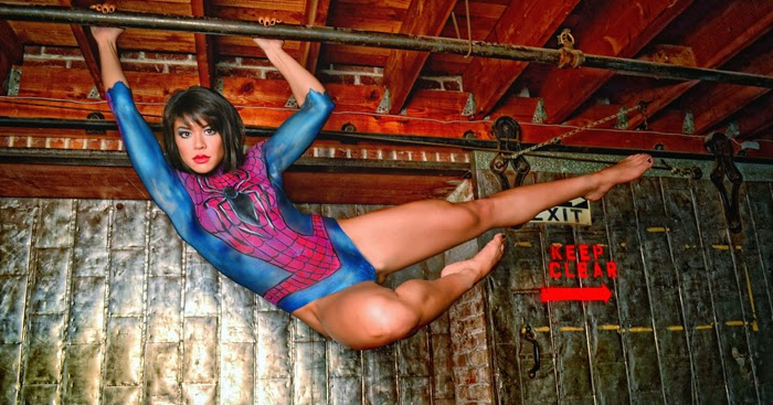 Calvin 39 s canadian cave of coolness chandra holt in spider for Body paint girl photo