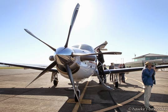 Test-flight for a Sounds Air nine-seater Pilatus PC12 Plane, which would fly direct between Hawke's Bay and Marlborough in a proposed service starting early August, pictured at Hawke's Bay Airport, Napier. photograph