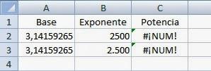Error #¡NUM! en Excel