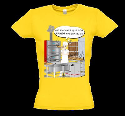 """Camiseta manga corta para mujer """"Panaderia Equipo A"""" color amarillo"""