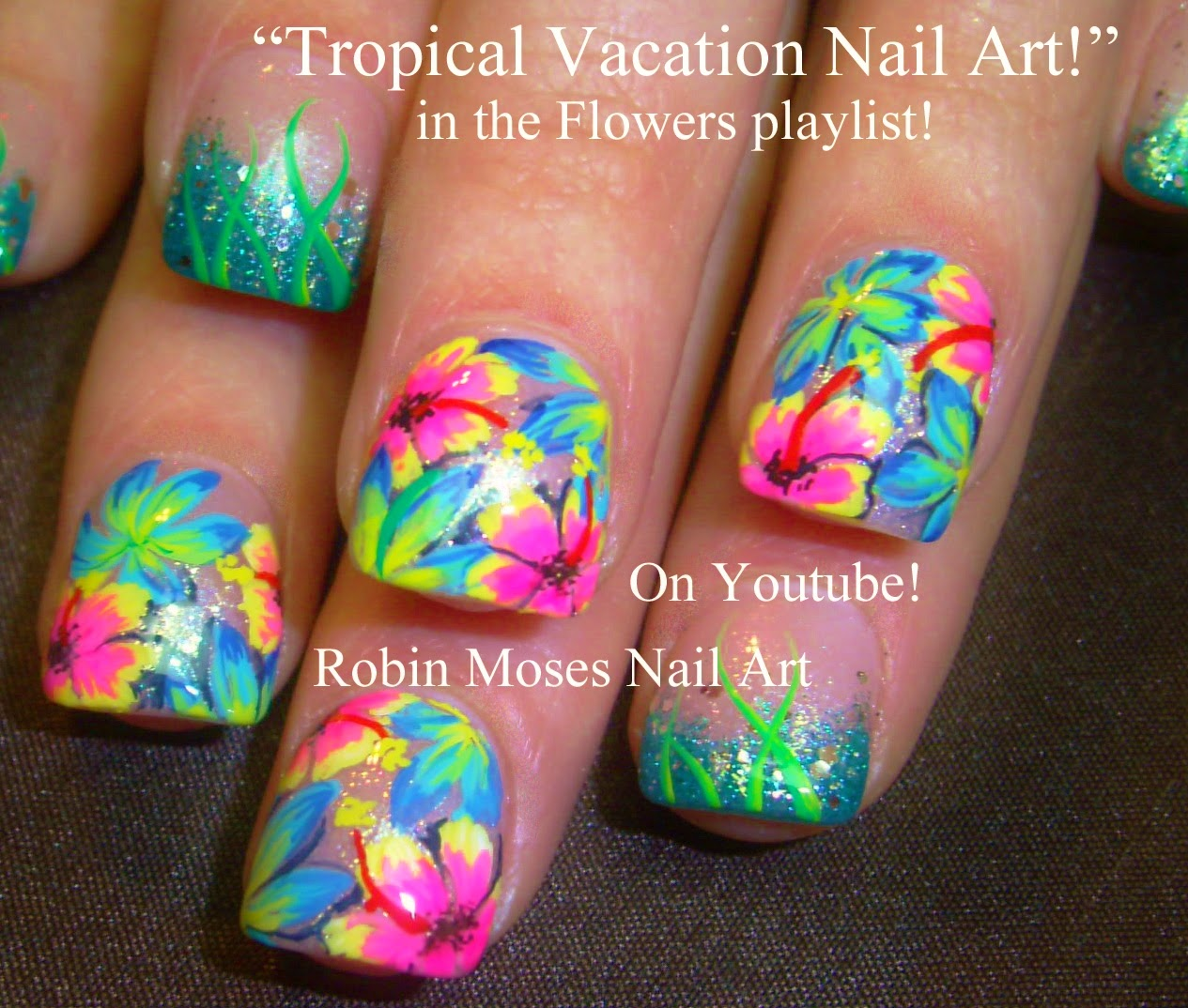 Tropical Nails Nail Art Design Short Vacation Neon Tutorial How To Diy Robin Moses Hibiscus
