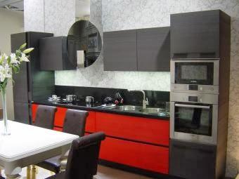 Cocinas integrales modernas en rojo y negro colores en casa for Cocinas pequenas decoradas modernas