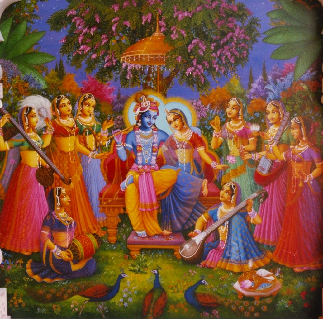 Shri Krishna with Radha and Gopies