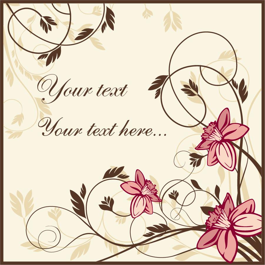 古風な花柄の背景 Vector Flower Backgroundタイトル イラスト素材
