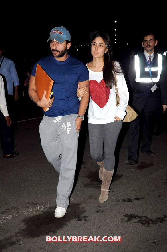 Saif Ali Khan, Kareena Kapoor - Saif Ali Khan &amp; Kareena snapped at the airport - August 2012