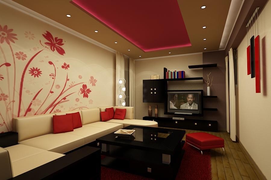 Dekorasi ruang tamu merah