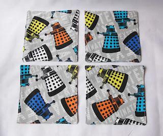 image domum vindemia fabric cocktail napkin set daleks dr who rainbow multicoloured grey white black