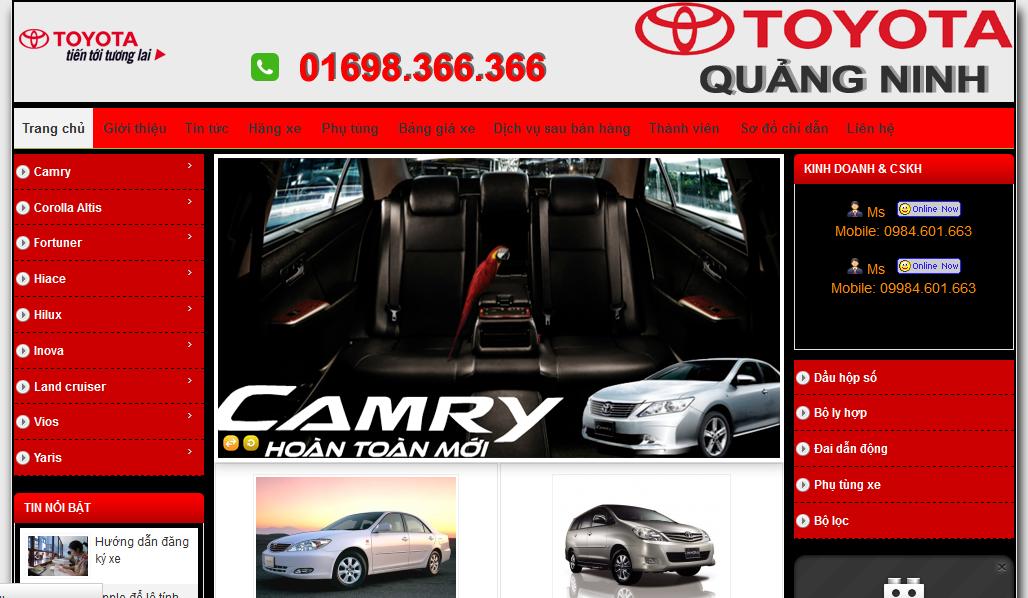 dịch vụ thiết kế website bán hàng ô tô