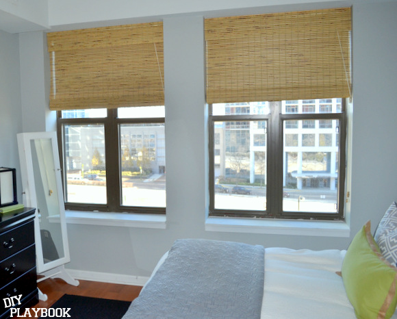 Bamboo shades on windows