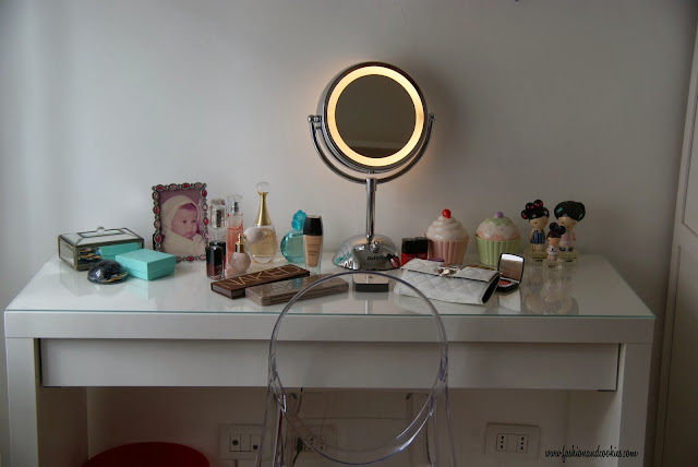 Ikea Malm as vanity table, babyliss 8425 mirror, Fashion and Cookies, fashion blog
