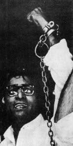 George Fernandes handcuffed