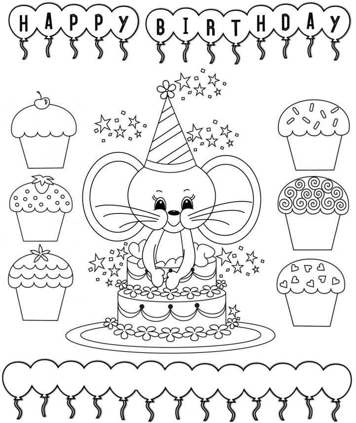 Printable Coloring Birthday Cards Coloring Birthday Card Home – Printable Birthday Cards Black and White