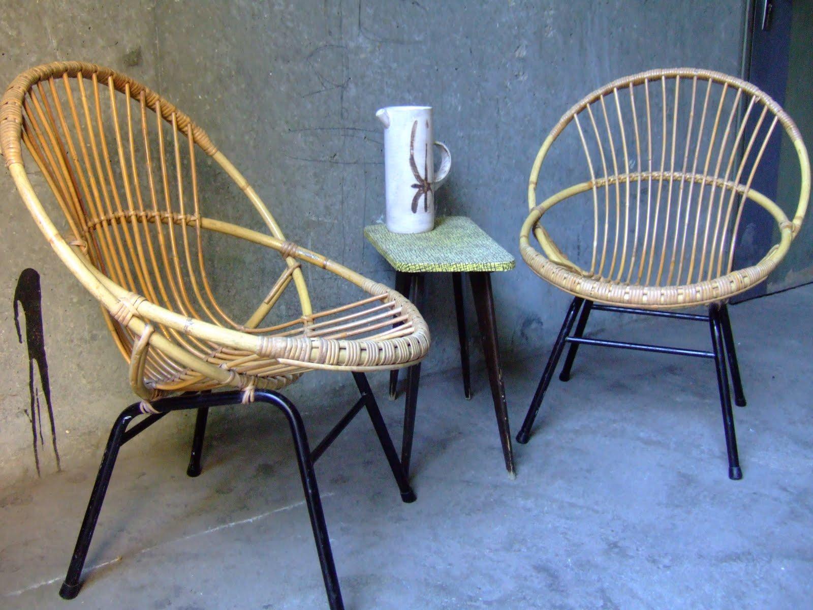Vintage bazar paire de fauteuils en rotin ann es 60 - Fauteuil rotin metal ...