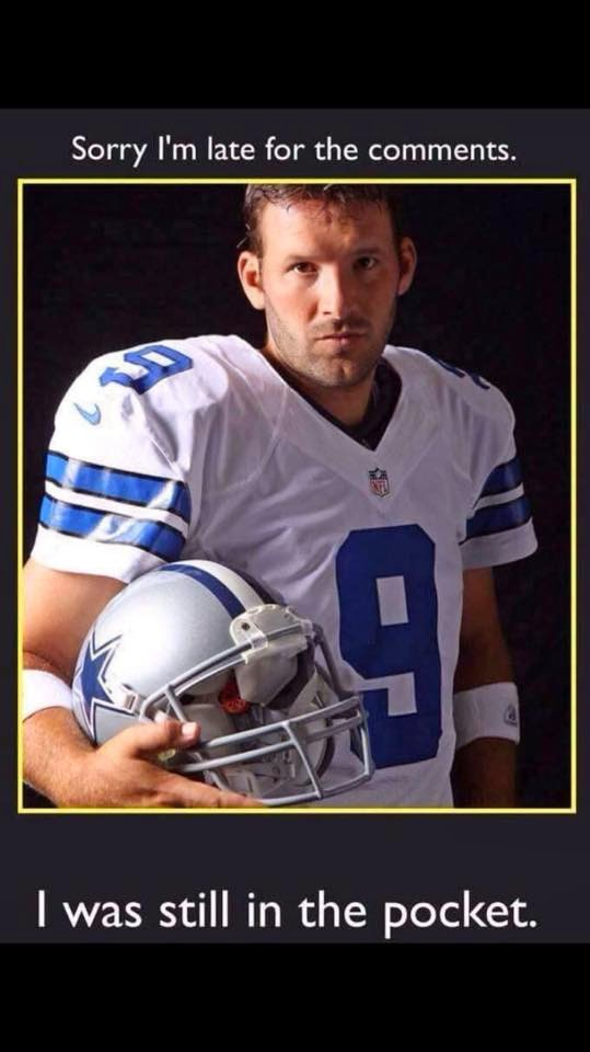 sorry i'm late for the comments. I was still in the pocket. #pocket #tonyromo #Cowboys