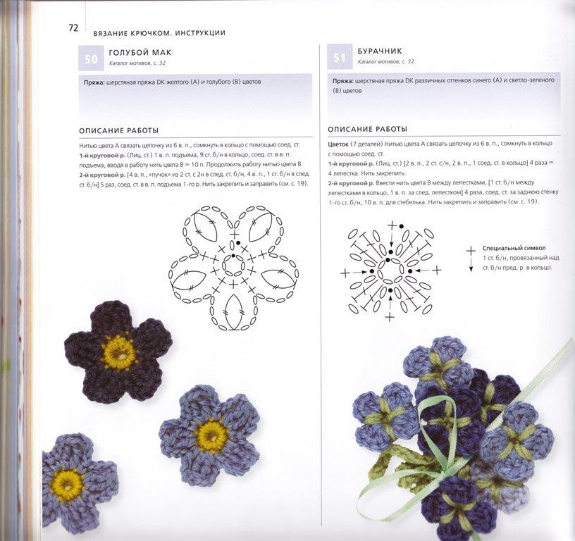 Схемы вязания цветочков
