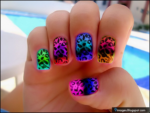 Girly, nail, art, paint, rainbow, colour, stylish