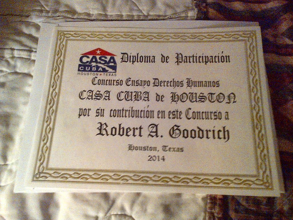 Diploma Concurso de Ensayos Derechos Humanos