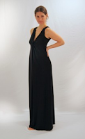 soybu jetset maxi dress in black on model