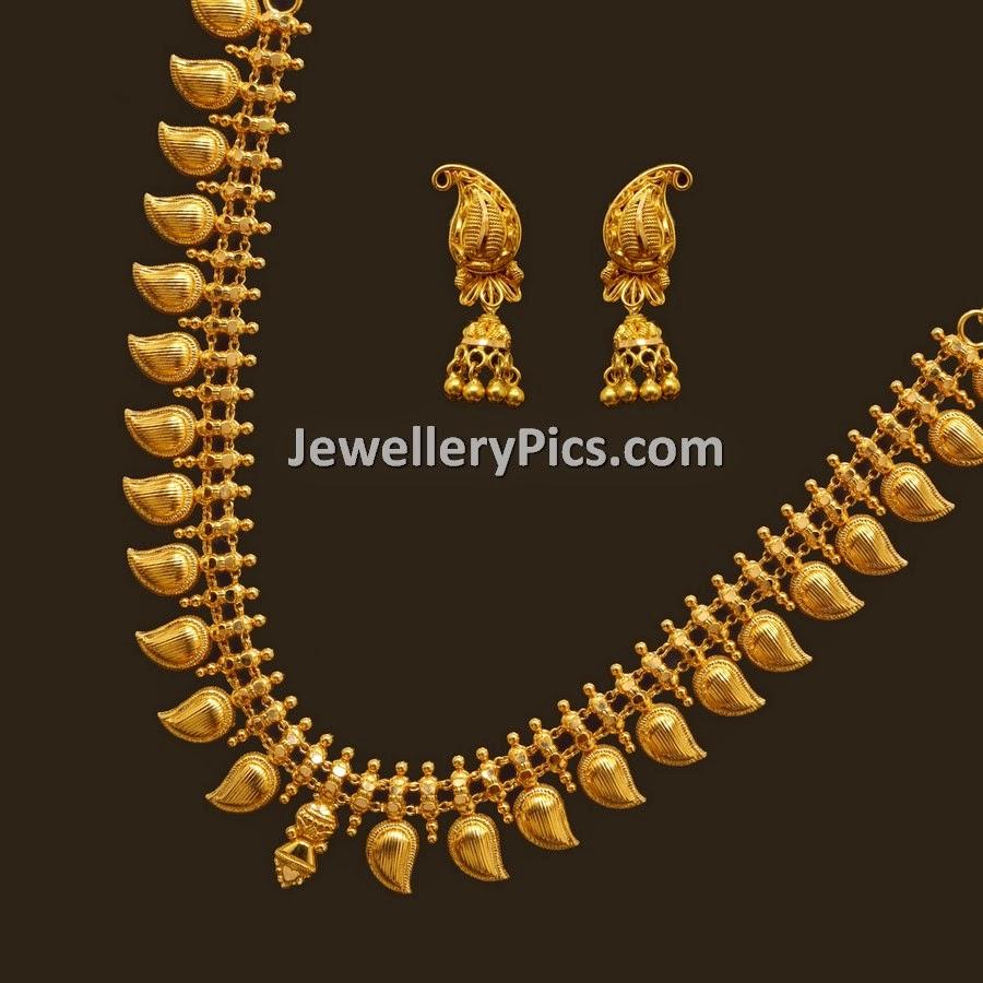 Fancy gold mango haram in light weight - Latest Jewellery Designs