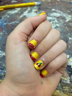 Yellow cherry lemonade nail art 31 days of nail art challenge day 3 yellow nails