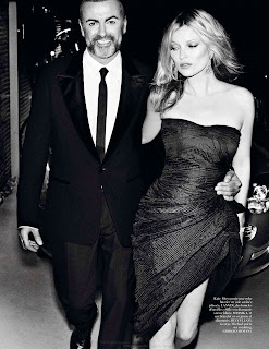 Kate Moss and George Michael black and white photo
