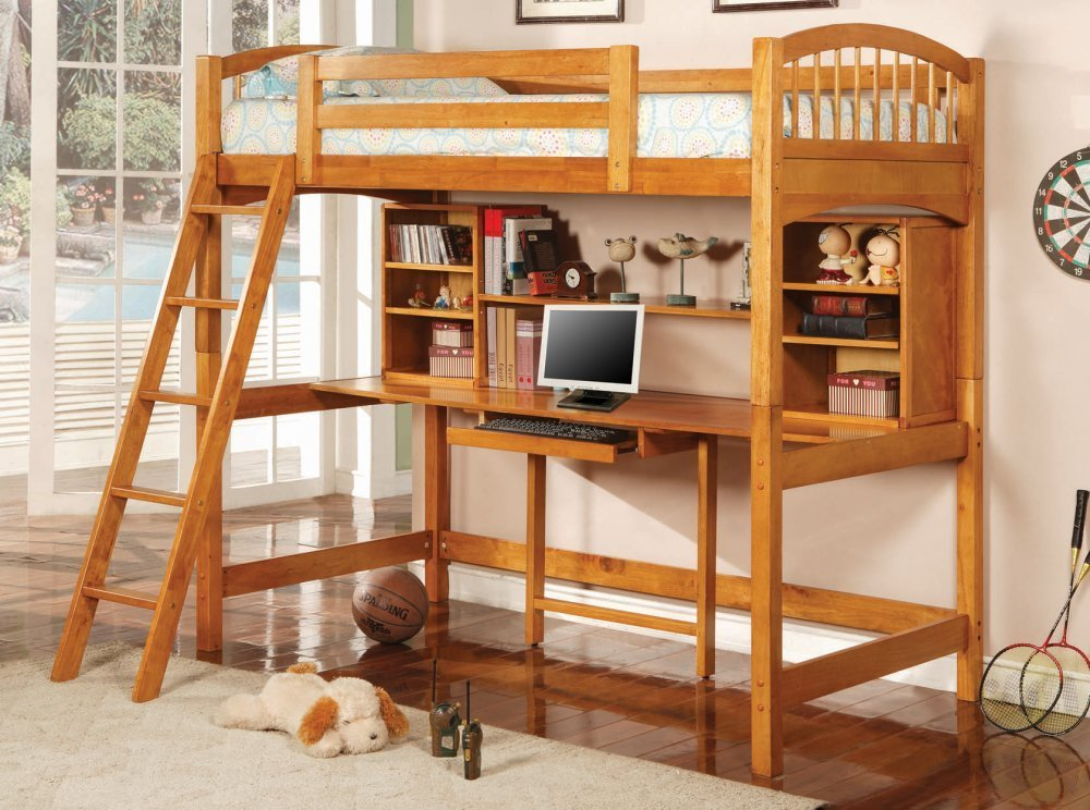 Solid Wood Twin Loft Bed With Computer Desk/Workstation Underneath