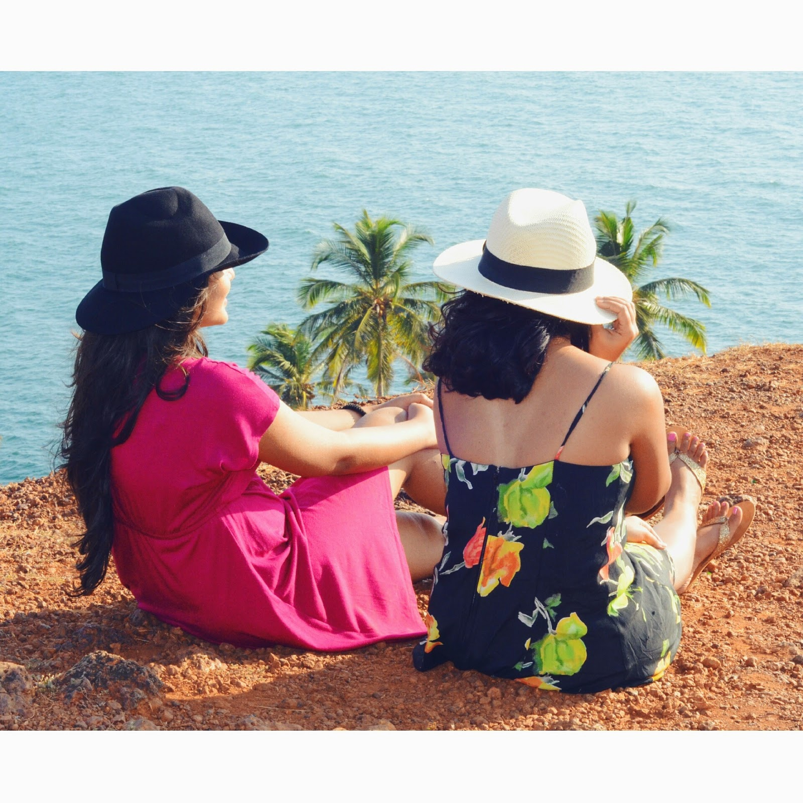 girls, hats, dresses, sunset, cliff, scenery, water, sunshine, outfit, lookbook, summer, goa